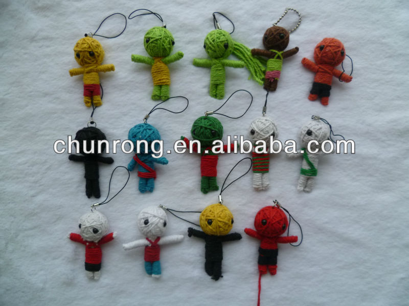 2014 cheap simple mini string voodoo dolls,handmade little doll keychains
