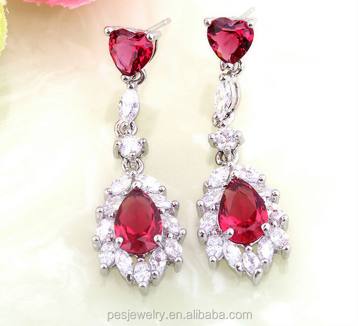 Best selling multi colour birthday stone cz drop hanging earrings