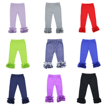 Wholesale 2016 High quality baby icing ruffle pants solid color childrens ruffle best selling icing leggings triple ruffle pants