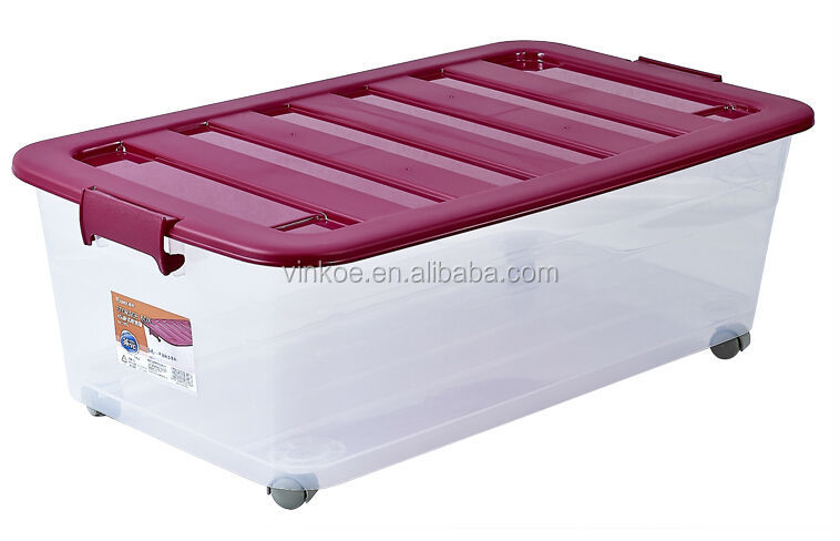 heavy-duty plastic storage box with wheels