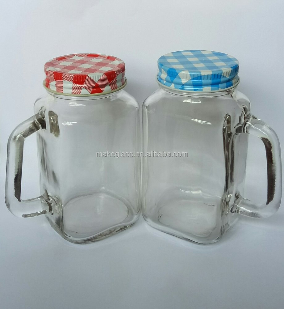 180ml square glass mason jar with handle and metal lid,clear glass mason jar