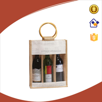 High quality jute fabric wine bag,eco 3 bottles wine carrying bag