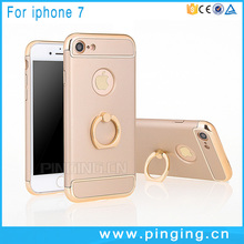<strong>Fashion</strong> 3 in 1 combo electroplating frame slim pc phone cover for iphone 7 kickstand finger ring
