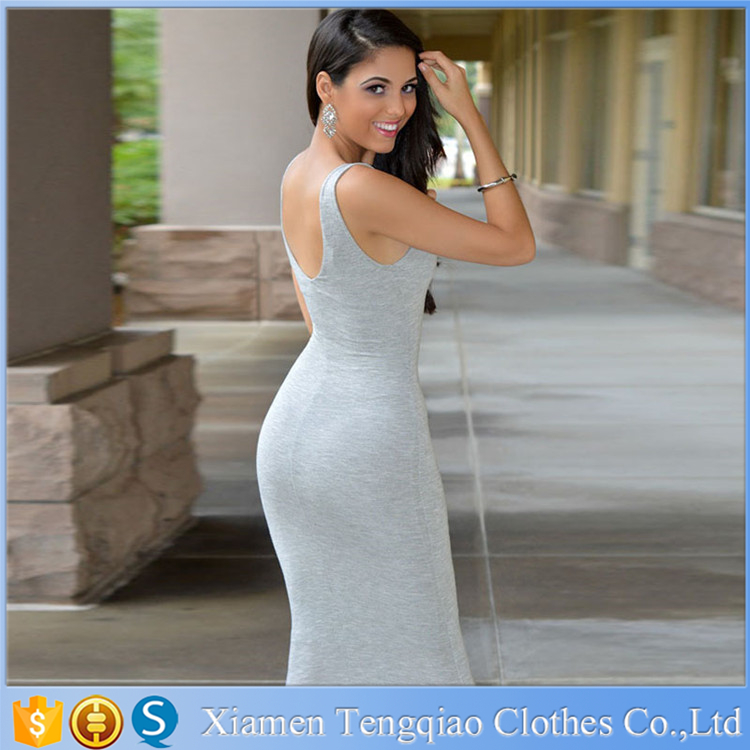 Women Sexy Zipper Deep V neck Backless Gray Dress Fashion Bodycon Pencil Dresses