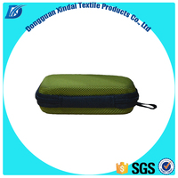 OEM easy carrying waterproof Green EVA earphone case / bag / box with mesh pocket and handle