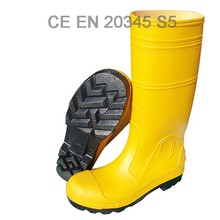 manufacture Yellow upper men's pvc working safety gumboots with steel toe