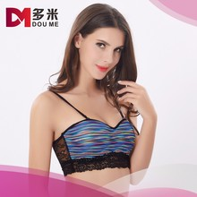 Ladies' hot sale fancy stylish bra one piece cup acid print nylon micro fashion sports bra
