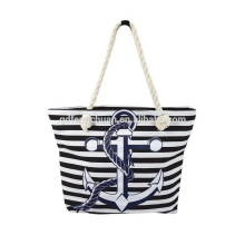Hot sell navy sailor striped anchor cotton beach bag with rope handle