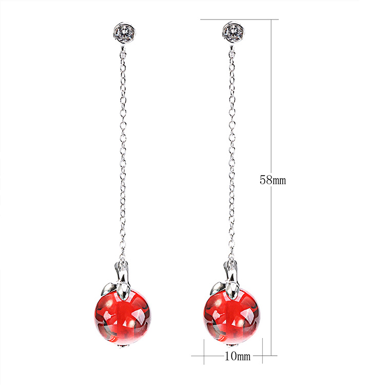 New-designed gemstone crystal glass pendant long earring jewelry lady 925 sterling stud earrings for women