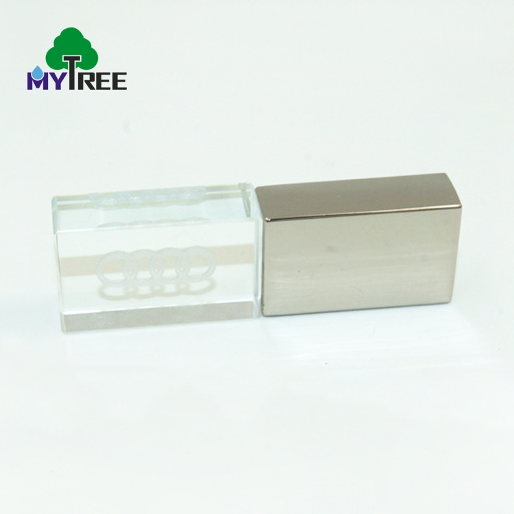 High quality transparent flash memory disk crystal u stick usb driver with led light