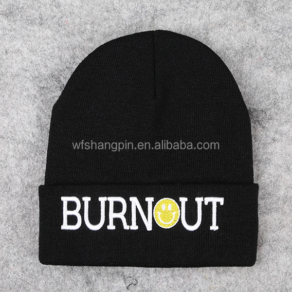 High Quality 100% Acrylic Plain Toque Custom Knitted Embroidery Winter Beanie