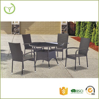 5pc outdoor general use french cane furniture poly synthetic wicker rattan dining set