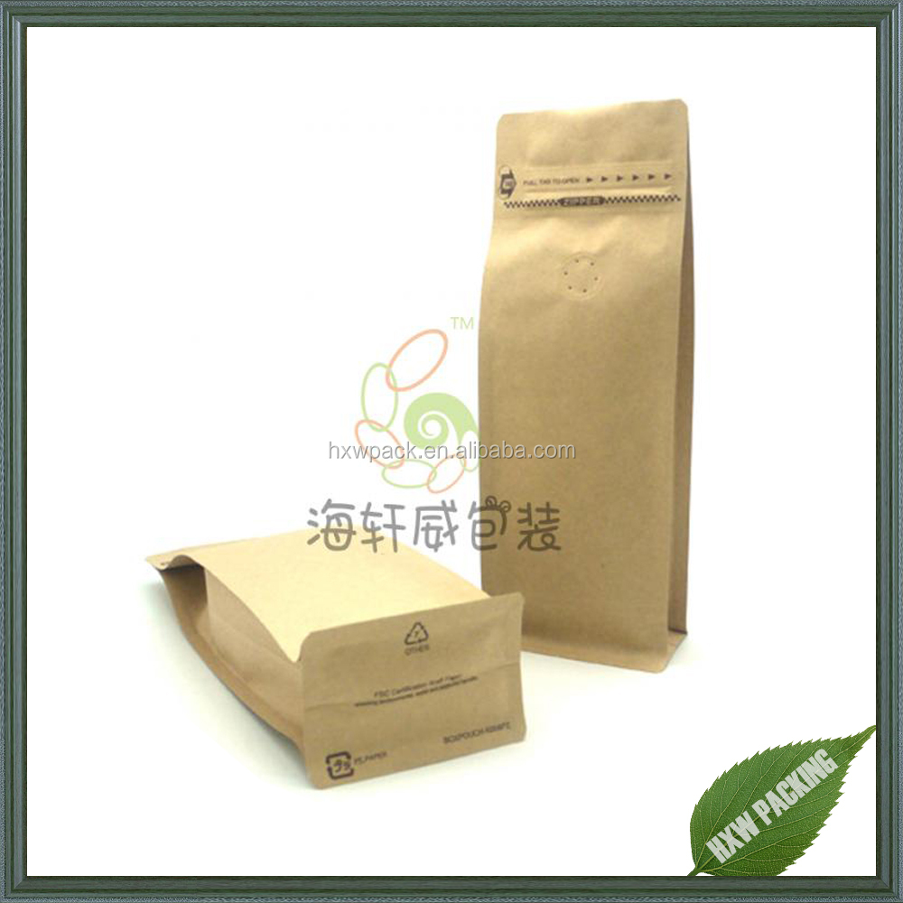 Kraft Paper Coffee Packaging with Valve and Ziplock