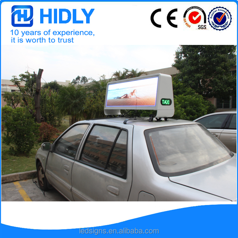 P5 3G and GPS LED top light box/taxi roof advertising display Double Sided LED Taxi Roof Display for Advertising