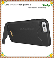 For Apple iPhone 6S Black Credit Card Slot Hard Back Cover Case