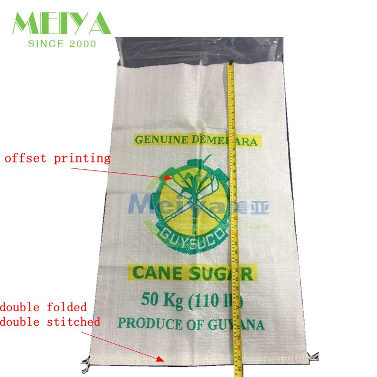 Best price offset printing pp woven white sugar bag 50kg price, 50kg bag dimensions for cane sugar