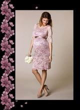 Pink top quality lace maternity evening dress with long sleeve beautiful women's short formal party dress
