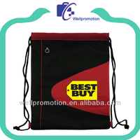 Wellpromotion zippered front pocket nylon drawstring bags