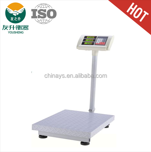 Light White Coloe Round Foldable Pole Electronic Weigh Scale,ABS Plastic Indicator,LCD Green Backlight Diaplay,Heavy Duty Plate