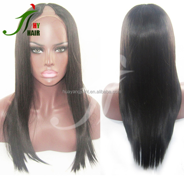 Brazilian Virgin Hair V Shape Part Silky Straight Human Hair U Part Wig White Women Lace Wigs with Middle Parting