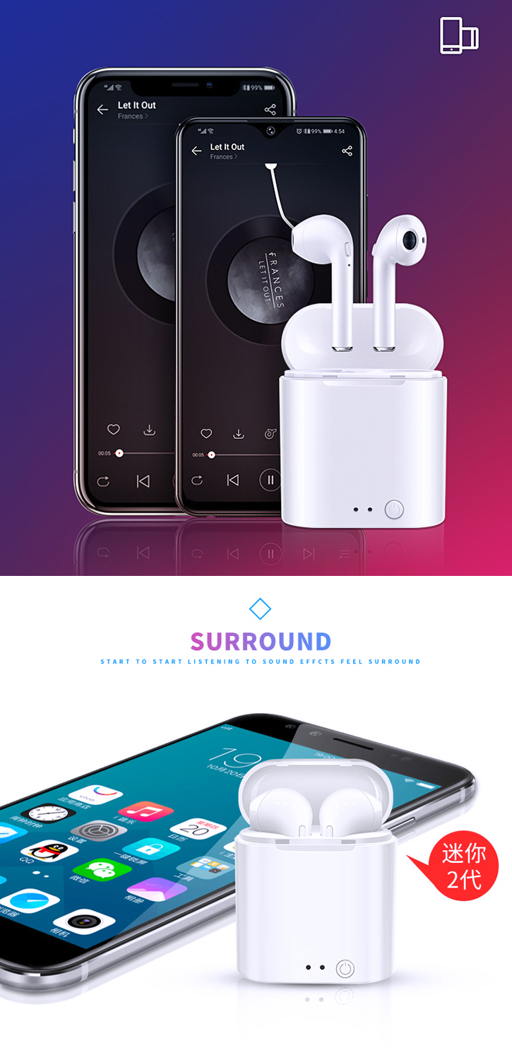 Invisible i7 mini TWS Twins True Wireless Blue tooth Stereo In-Ear Earphone headphone Earbuds