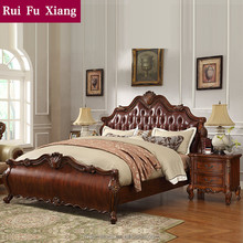 American classic style luxury wood leather double bed with handmade carving B-217