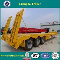 Shandong 3 axles 12 wheeler low deck trailer 50 ton lowboy trailers three axles for sale