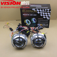 Universal 3.0inch Xenon Projector Lens with Led Angel Eyes Projector Shroud for Motor Headlight