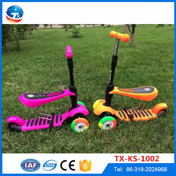 Google online shopping wholesale cheap kids kick scooter 3 wheel, new model 2 in 1 kids sitting scooter for sale tianxing brand