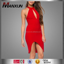 Hot sell new fashion western red high neck halter sexy backless women summer dress