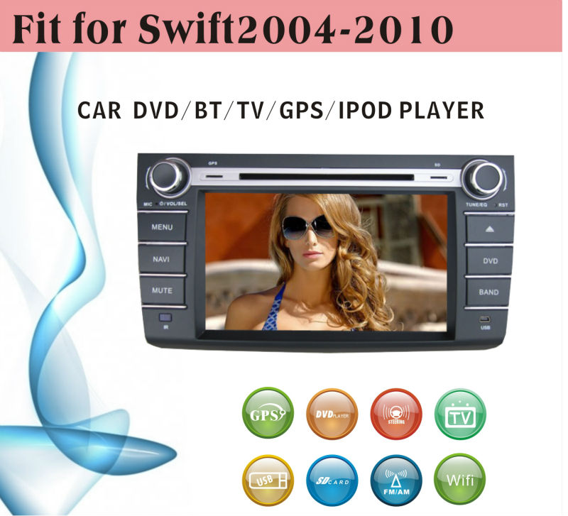 car dvd vcd cd mp3 mp4 player fit for Suzuki Swift 2004 - 2010 with radio bluetooth gps tv