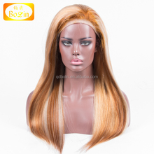 2018 fashion silky straighthuman virgin hair mixed highlight color full lace wig for black women