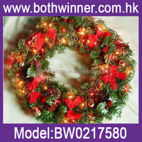willow christmas wreath , 50cm plastic christmas garland H0T027 lighted outdoor christmas ball wreaths