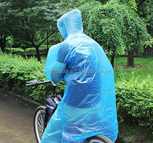 Emergency Disposable Rain Poncho With Drawstring Hood and Elastic Sleeve Ends