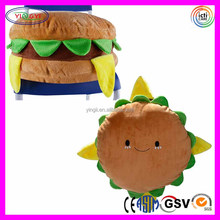 E489 Hamburger Plush Cushion Pillow Cotton Food Figure Toy King Burger Cute Hamburger Pillow