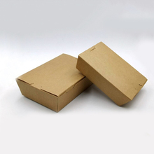 Wholesale Rectangle Fast Food Take Out Food Packaging Kraft Brown Lunch Box Paper
