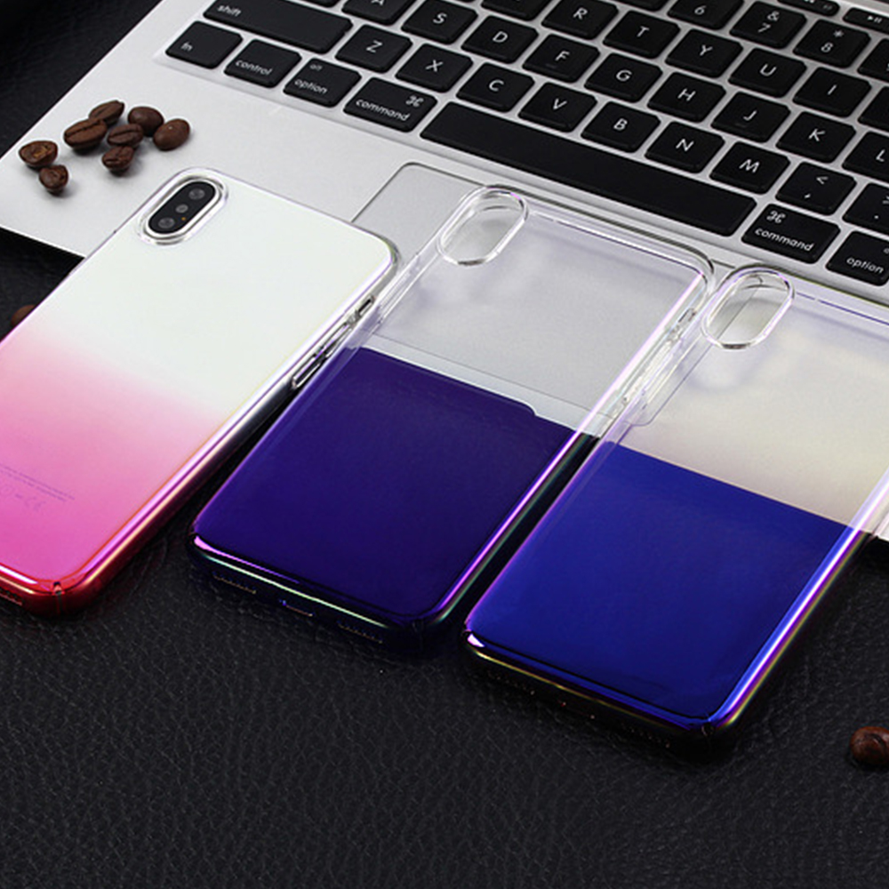 Clear ultra thin aurora clear PC mobile phone back cover case for iPhone X/6/7/8/ 7 plus pc polar electroplate cover