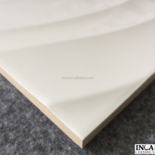 Hot sales product and good price high quality ceramic wall tile with pure White color wave pattern design in glossy surface