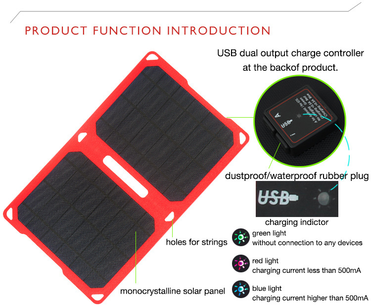 folding 10w solar panel charger For Smart Phone