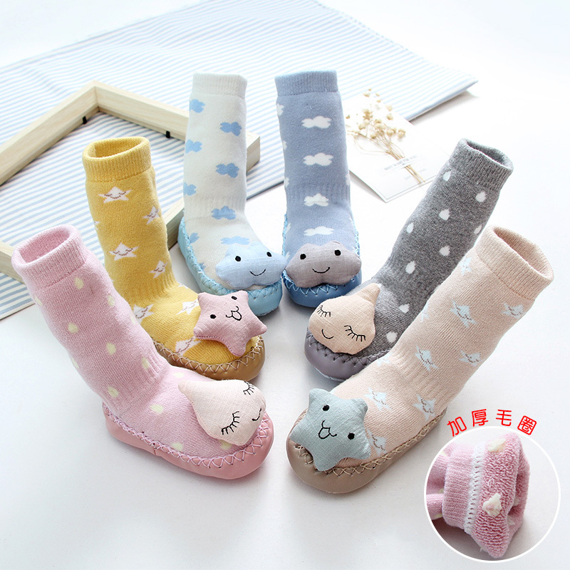 2017 Low MOQ Wholesale Anti Slip animal baby shoe socks with rubber sole