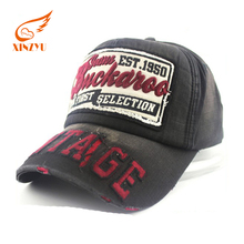 Custom 6 panel baseball cap 3D/flat embroidery worn-out stone washed baseball cap