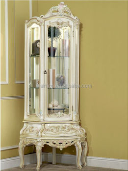 European Royal Classic Living Room Cabinet Functional Curio Display Cabinet With Mirror Back