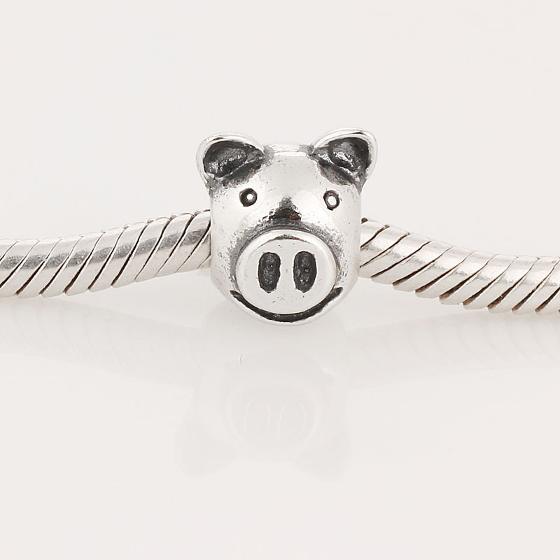 Free Shipping 100% Authentic 925 Sterling Silver Pig head Thread Charms L204 Beads DIY Fit charmilia pandora Bracelet & Necklace