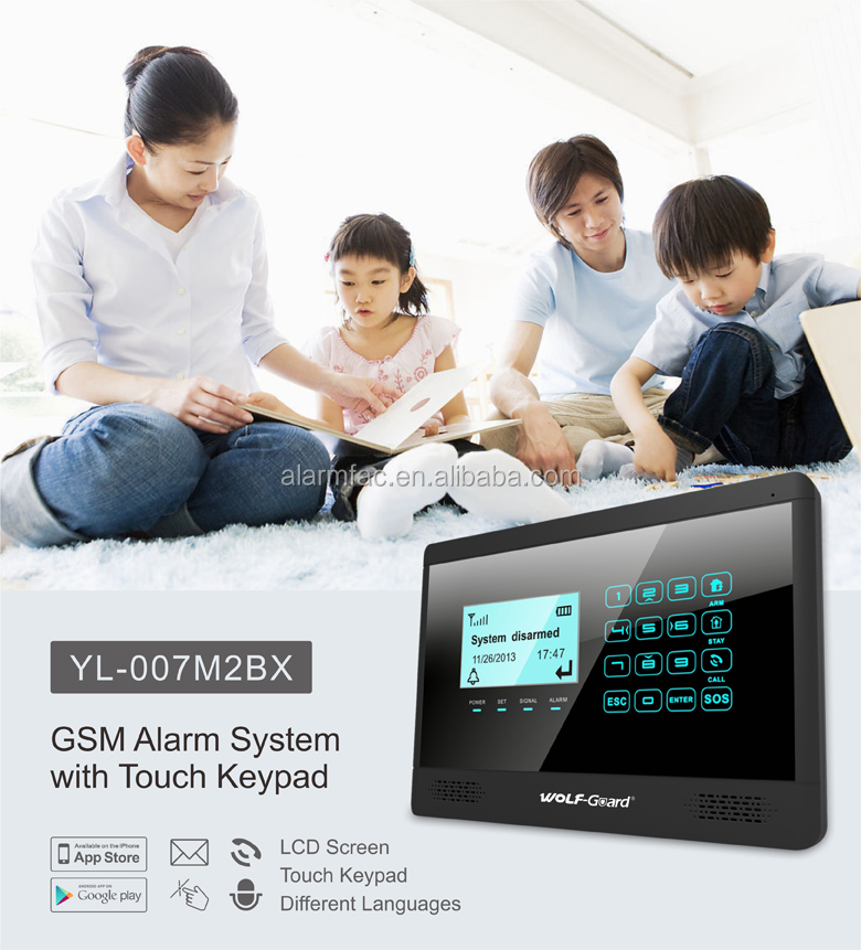 WolfGuard Smart home gsm wireless intelligent security alarm system with gas detector and Touch keypad(YL007M2E)