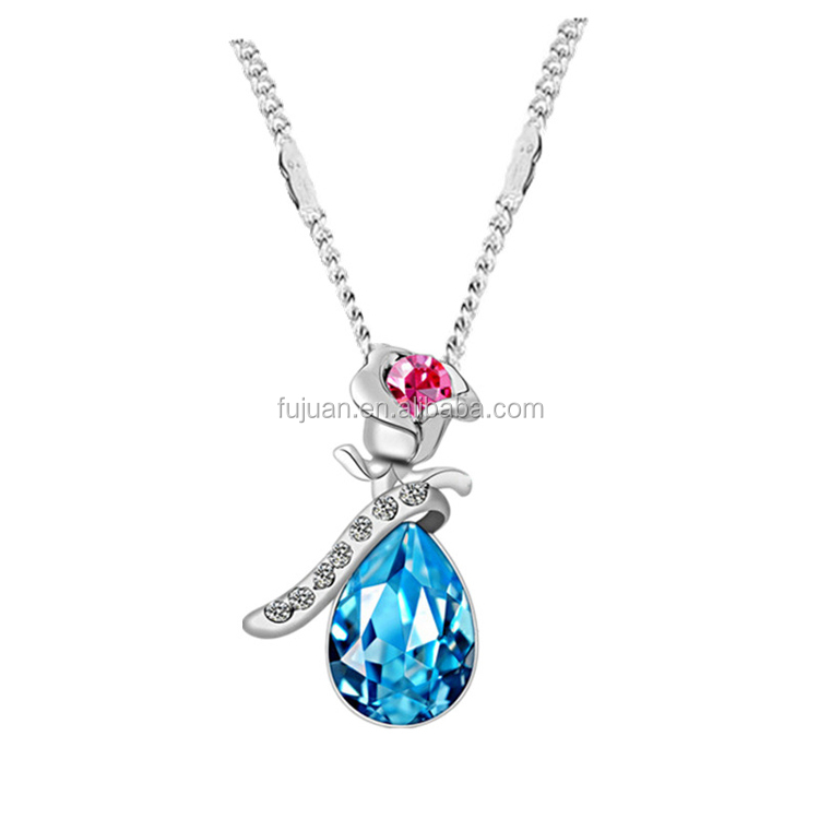 Fashion white k plated rose pendant austria crystal necklace