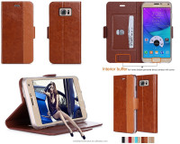 New Hot Shockproof Rugged Guangzhou PU Leather Flip Cellphone Case for Samsung Note 5
