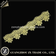 Wholesale gold fabric laces, dresses trimming lace, chemical lace with embroidery