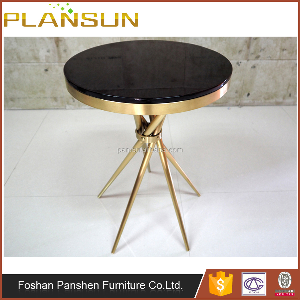American Village Style Mirror Titanium Black Paint Glass Brass Small Coffee Table for living room