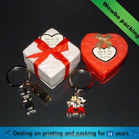 Hard paperboard key ring gift box with ribbon
