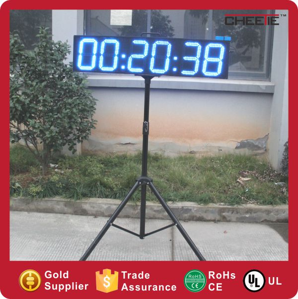 "Double Sided with Tripod Stand Blue Color RF Remote Control 8"" LED Race Timing Clock"